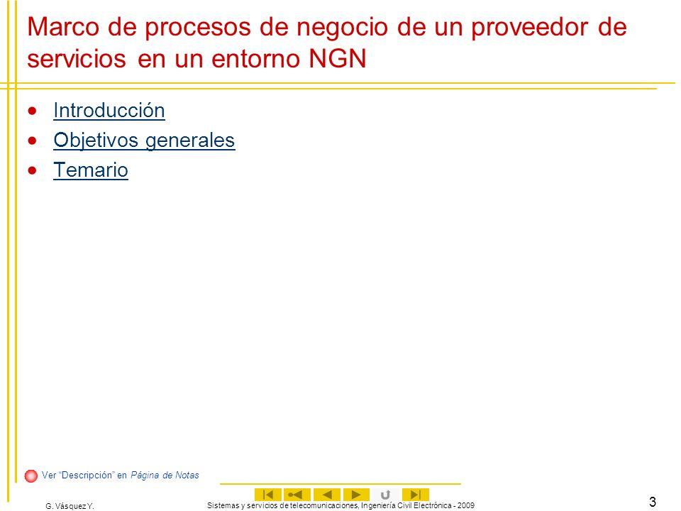 G. Vásquez Y. Sistemas y servicios de telecomunicaciones, Ingeniería Civil Electrónica - 2009 3 Marco de procesos de negocio de un proveedor de servic