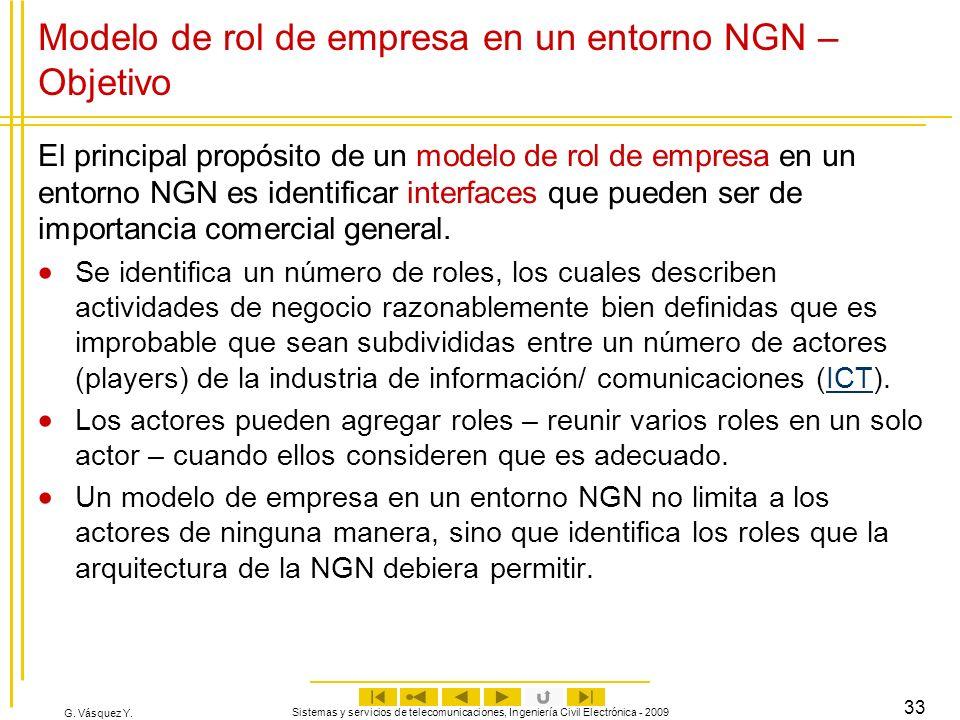 G. Vásquez Y. Sistemas y servicios de telecomunicaciones, Ingeniería Civil Electrónica - 2009 33 Modelo de rol de empresa en un entorno NGN – Objetivo