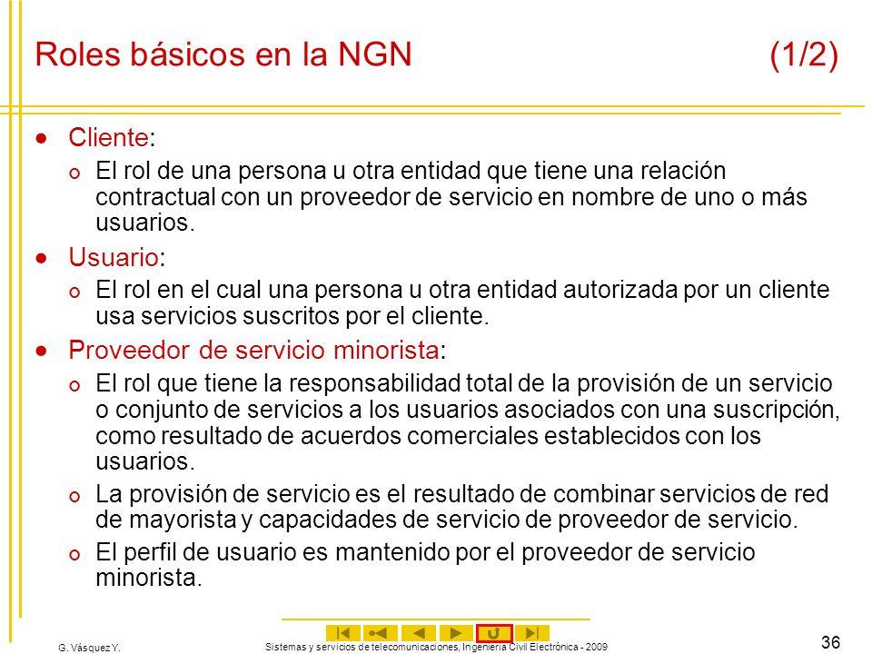 G. Vásquez Y. Sistemas y servicios de telecomunicaciones, Ingeniería Civil Electrónica - 2009 36 Roles básicos en la NGN (1/2) Cliente: El rol de una