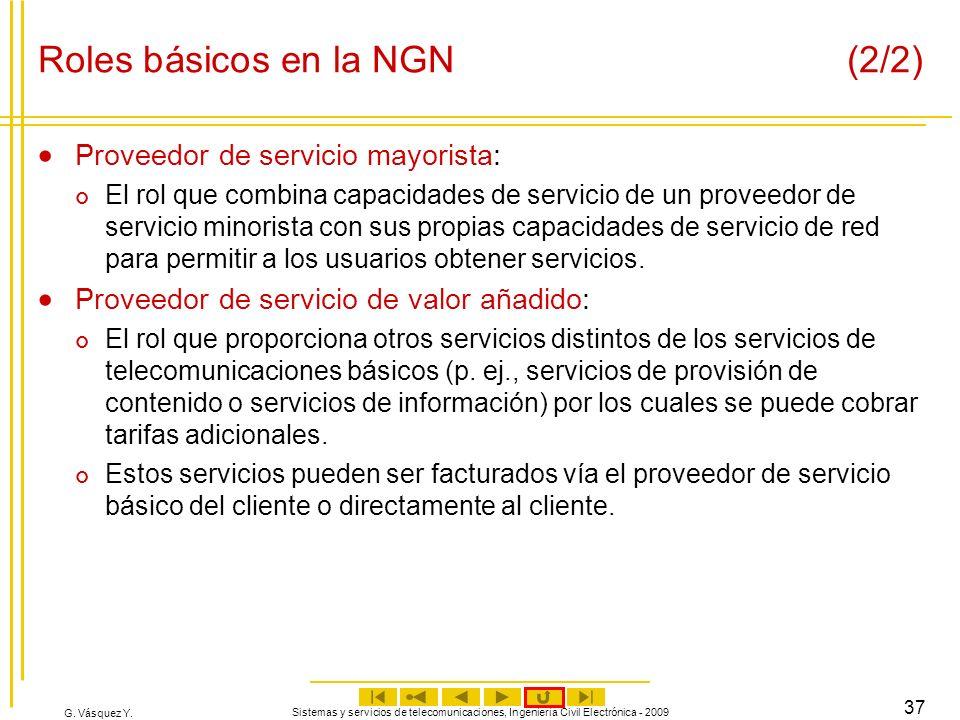 G. Vásquez Y. Sistemas y servicios de telecomunicaciones, Ingeniería Civil Electrónica - 2009 37 Roles básicos en la NGN (2/2) Proveedor de servicio m