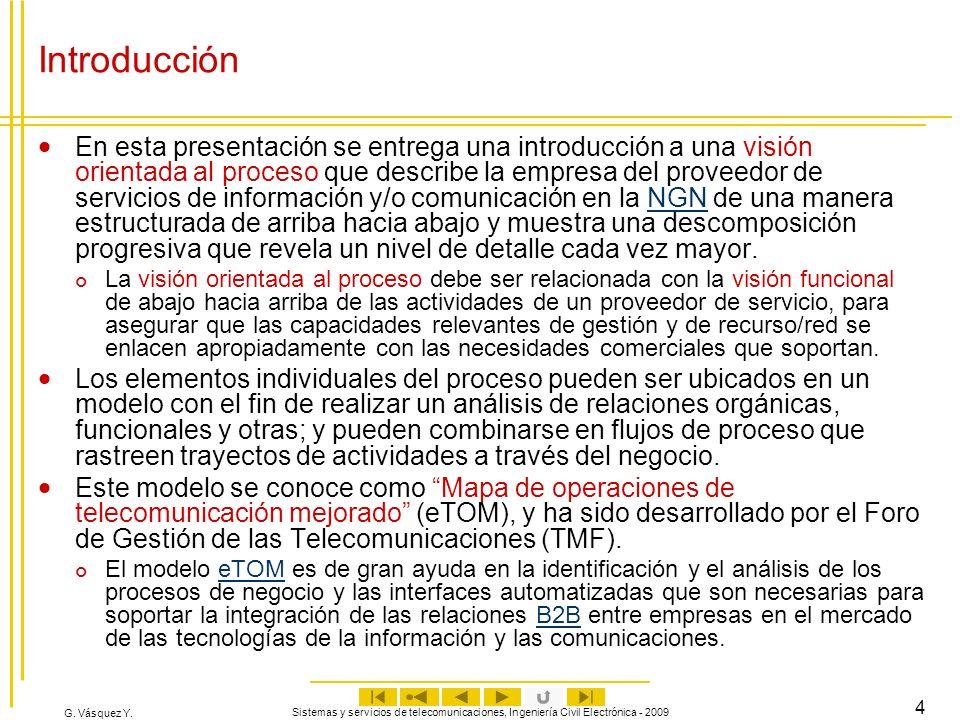 G. Vásquez Y. Sistemas y servicios de telecomunicaciones, Ingeniería Civil Electrónica - 2009 4 Introducción En esta presentación se entrega una intro