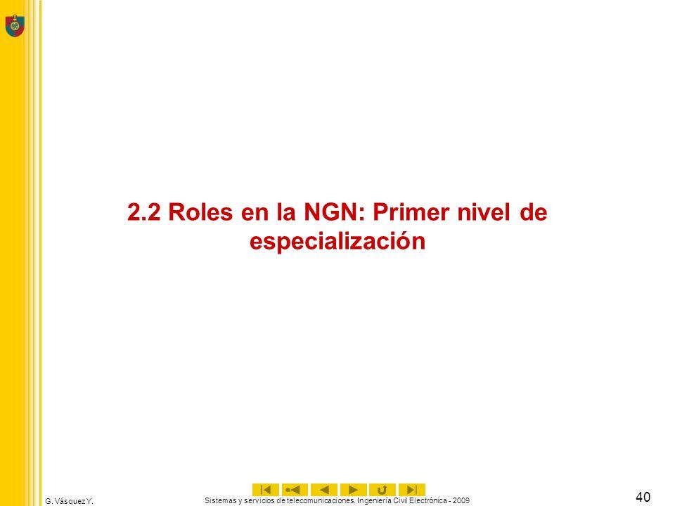 G. Vásquez Y. Sistemas y servicios de telecomunicaciones, Ingeniería Civil Electrónica - 2009 40 2.2 Roles en la NGN: Primer nivel de especialización