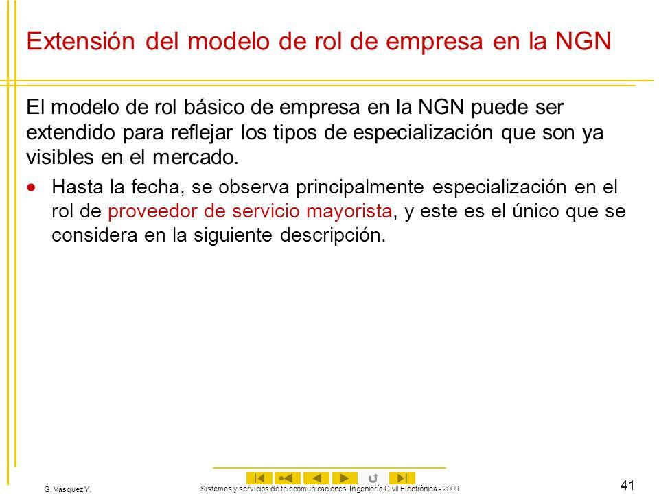 G. Vásquez Y. Sistemas y servicios de telecomunicaciones, Ingeniería Civil Electrónica - 2009 41 El modelo de rol básico de empresa en la NGN puede se