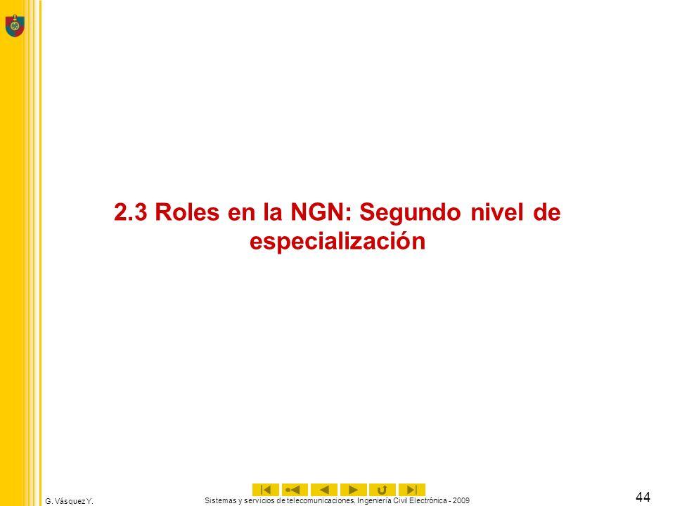 G. Vásquez Y. Sistemas y servicios de telecomunicaciones, Ingeniería Civil Electrónica - 2009 44 2.3 Roles en la NGN: Segundo nivel de especialización