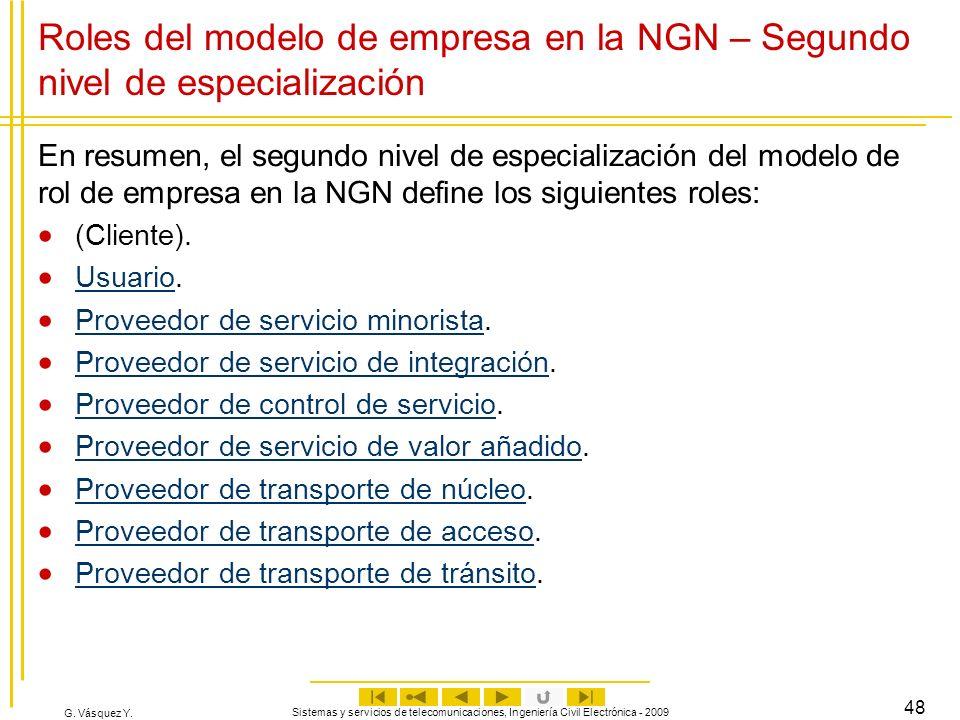 G. Vásquez Y. Sistemas y servicios de telecomunicaciones, Ingeniería Civil Electrónica - 2009 48 Roles del modelo de empresa en la NGN – Segundo nivel
