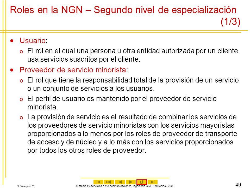G. Vásquez Y. Sistemas y servicios de telecomunicaciones, Ingeniería Civil Electrónica - 2009 49 Roles en la NGN – Segundo nivel de especialización (1