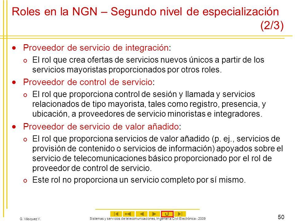 G. Vásquez Y. Sistemas y servicios de telecomunicaciones, Ingeniería Civil Electrónica - 2009 50 Roles en la NGN – Segundo nivel de especialización (2