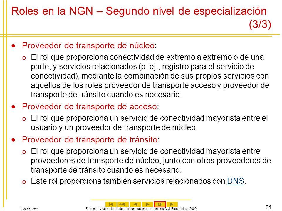 G. Vásquez Y. Sistemas y servicios de telecomunicaciones, Ingeniería Civil Electrónica - 2009 51 Roles en la NGN – Segundo nivel de especialización (3