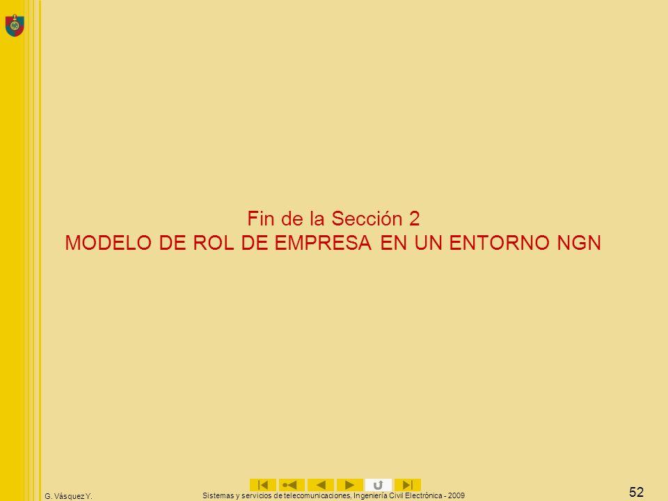 G. Vásquez Y. Sistemas y servicios de telecomunicaciones, Ingeniería Civil Electrónica - 2009 52 Fin de la Sección 2 MODELO DE ROL DE EMPRESA EN UN EN
