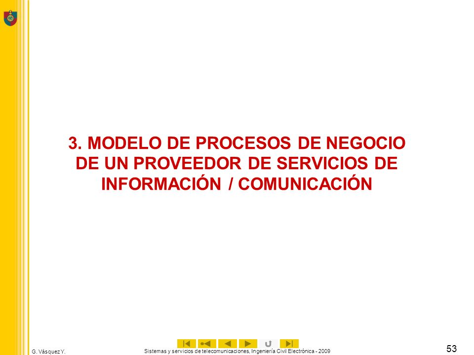 G. Vásquez Y. Sistemas y servicios de telecomunicaciones, Ingeniería Civil Electrónica - 2009 53 3. MODELO DE PROCESOS DE NEGOCIO DE UN PROVEEDOR DE S