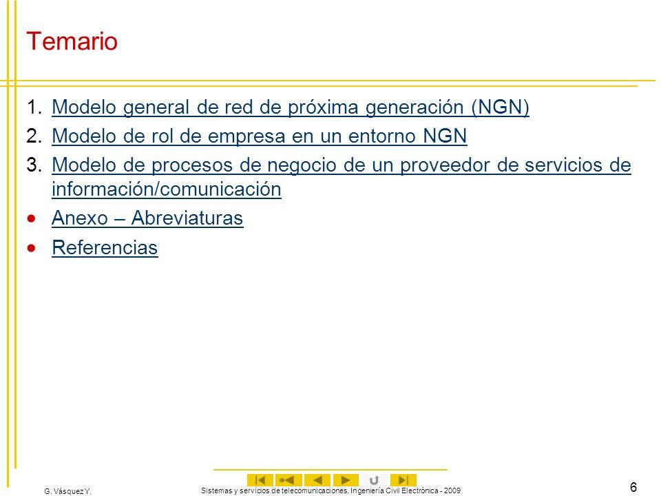 G. Vásquez Y. Sistemas y servicios de telecomunicaciones, Ingeniería Civil Electrónica - 2009 6 Temario 1.Modelo general de red de próxima generación