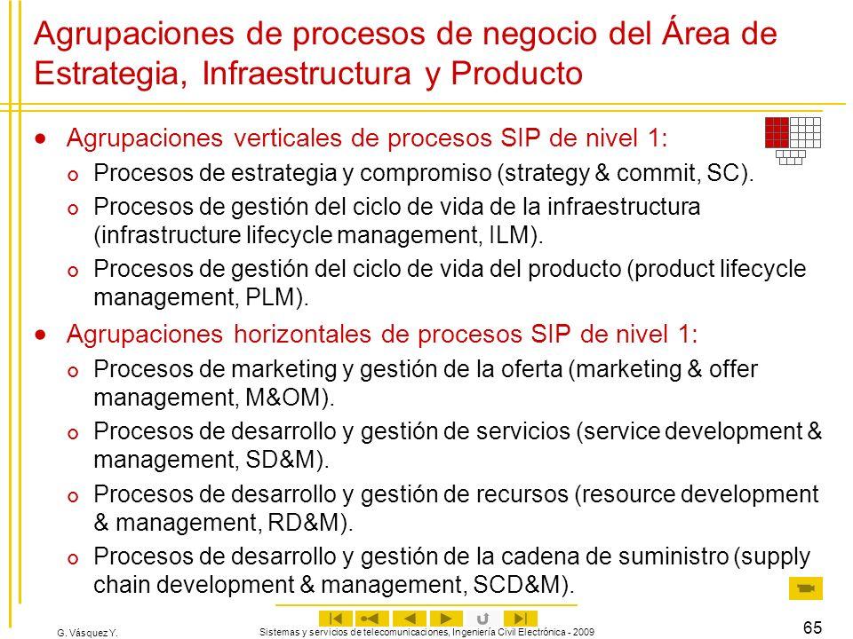 G. Vásquez Y. Sistemas y servicios de telecomunicaciones, Ingeniería Civil Electrónica - 2009 65 Agrupaciones de procesos de negocio del Área de Estra
