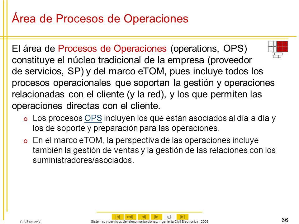 G. Vásquez Y. Sistemas y servicios de telecomunicaciones, Ingeniería Civil Electrónica - 2009 66 Área de Procesos de Operaciones El área de Procesos d