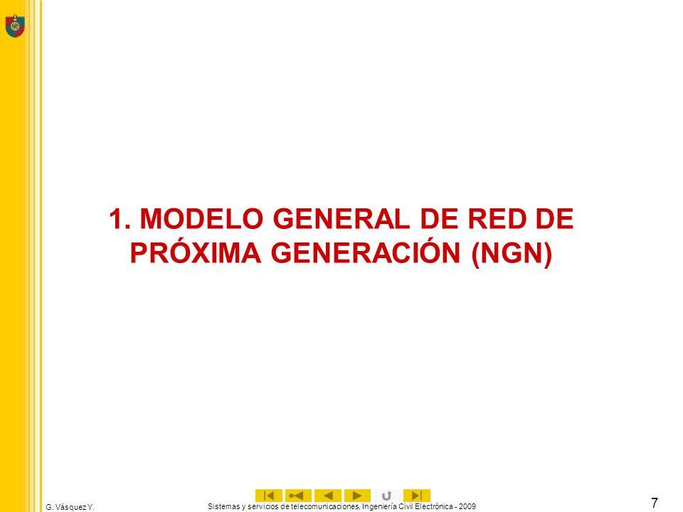 G. Vásquez Y. Sistemas y servicios de telecomunicaciones, Ingeniería Civil Electrónica - 2009 7 1. MODELO GENERAL DE RED DE PRÓXIMA GENERACIÓN (NGN)