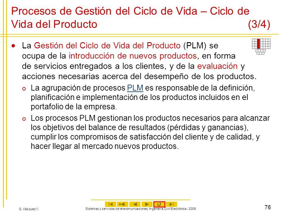 G. Vásquez Y. Sistemas y servicios de telecomunicaciones, Ingeniería Civil Electrónica - 2009 76 Procesos de Gestión del Ciclo de Vida – Ciclo de Vida