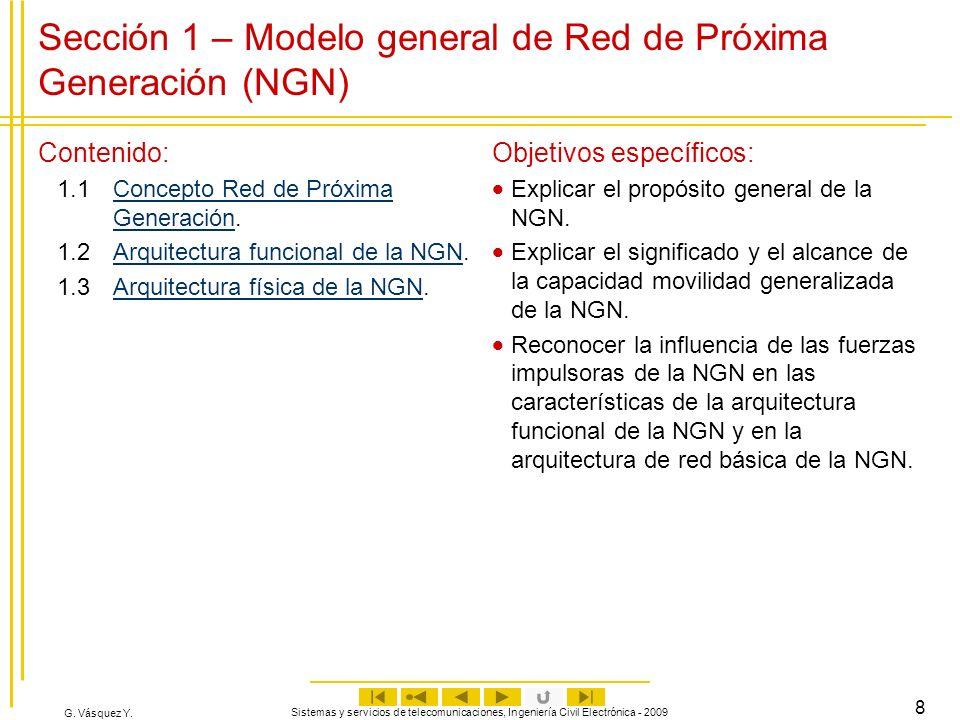 G. Vásquez Y. Sistemas y servicios de telecomunicaciones, Ingeniería Civil Electrónica - 2009 8 Sección 1 – Modelo general de Red de Próxima Generació