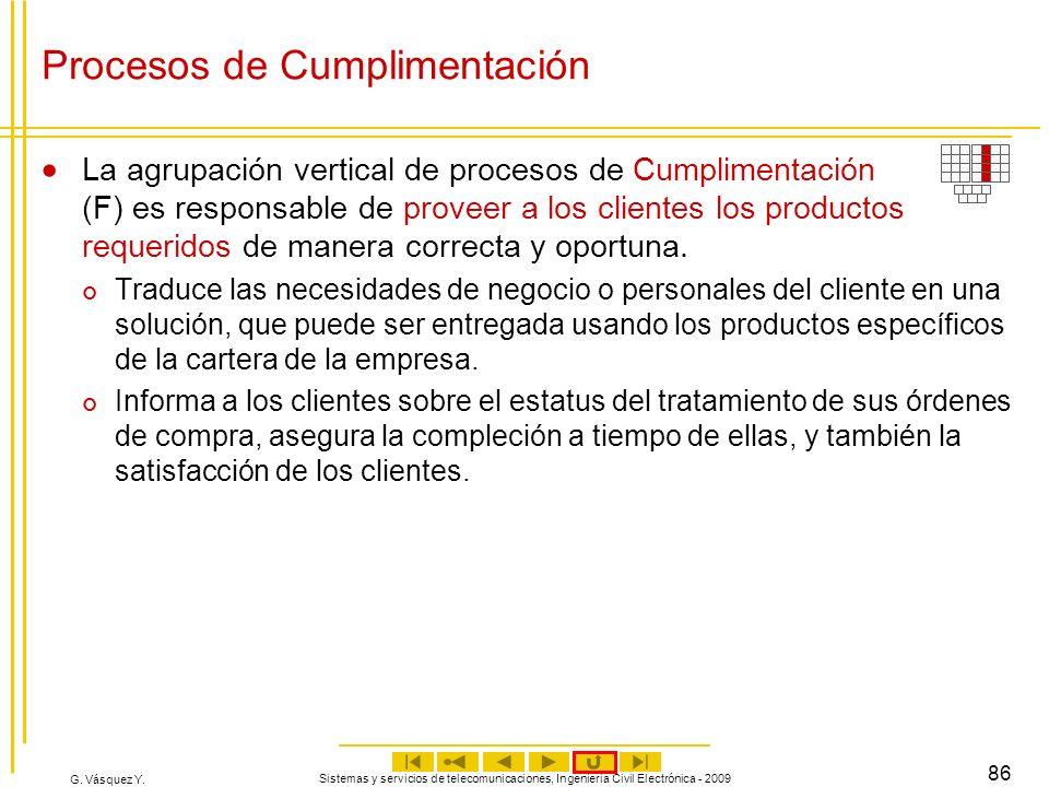 G. Vásquez Y. Sistemas y servicios de telecomunicaciones, Ingeniería Civil Electrónica - 2009 86 Procesos de Cumplimentación La agrupación vertical de