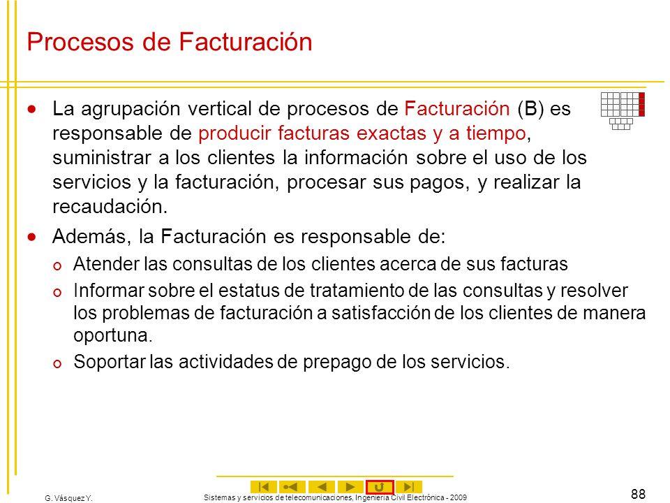 G. Vásquez Y. Sistemas y servicios de telecomunicaciones, Ingeniería Civil Electrónica - 2009 88 Procesos de Facturación La agrupación vertical de pro