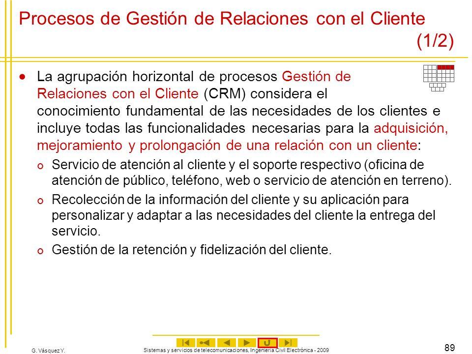 G. Vásquez Y. Sistemas y servicios de telecomunicaciones, Ingeniería Civil Electrónica - 2009 89 Procesos de Gestión de Relaciones con el Cliente (1/2