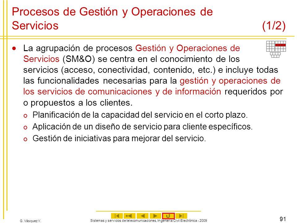 G. Vásquez Y. Sistemas y servicios de telecomunicaciones, Ingeniería Civil Electrónica - 2009 91 Procesos de Gestión y Operaciones de Servicios (1/2)