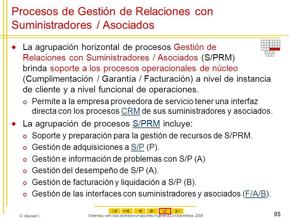G. Vásquez Y. Sistemas y servicios de telecomunicaciones, Ingeniería Civil Electrónica - 2009 95 Procesos de Gestión de Relaciones con Suministradores