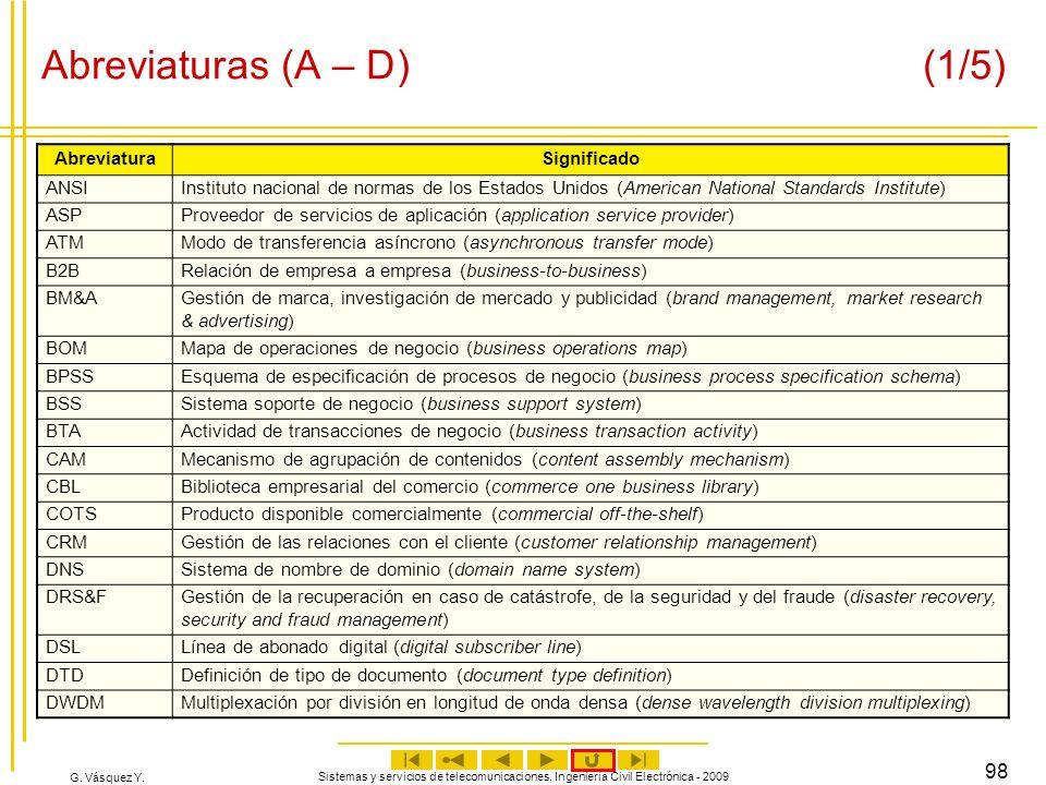 G. Vásquez Y. Sistemas y servicios de telecomunicaciones, Ingeniería Civil Electrónica - 2009 98 Abreviaturas (A – D) (1/5) AbreviaturaSignificado ANS