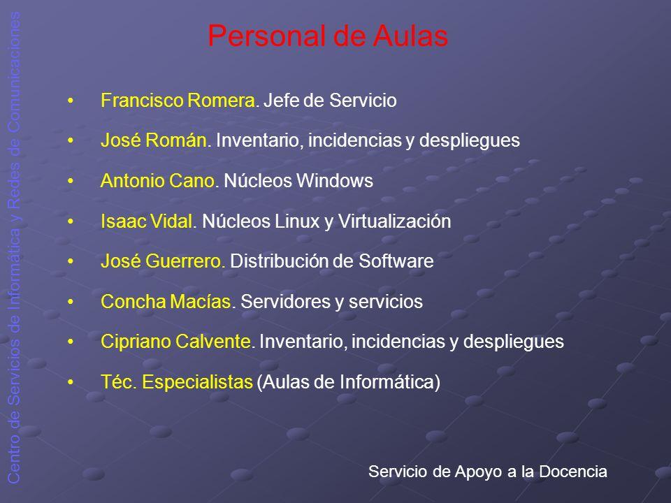 Servicio de Apoyo a la Docencia Centro de Servicios de Informática y Redes de Comunicaciones Personal de Aulas Francisco Romera. Jefe de Servicio José