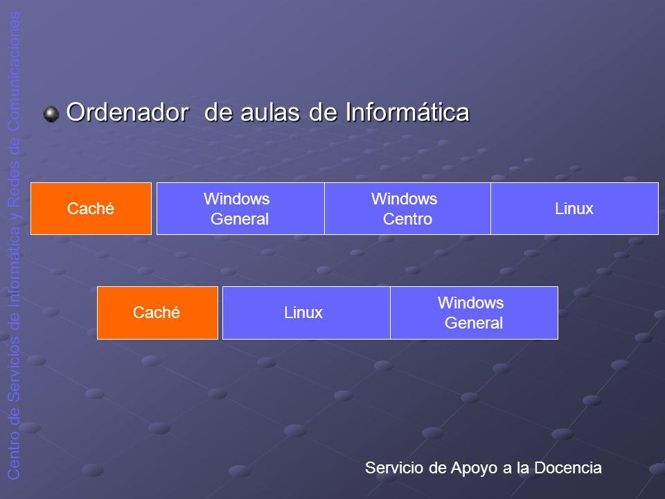 Servicio de Apoyo a la Docencia Centro de Servicios de Informática y Redes de Comunicaciones Ordenador de aulas de Informática Caché Windows General W