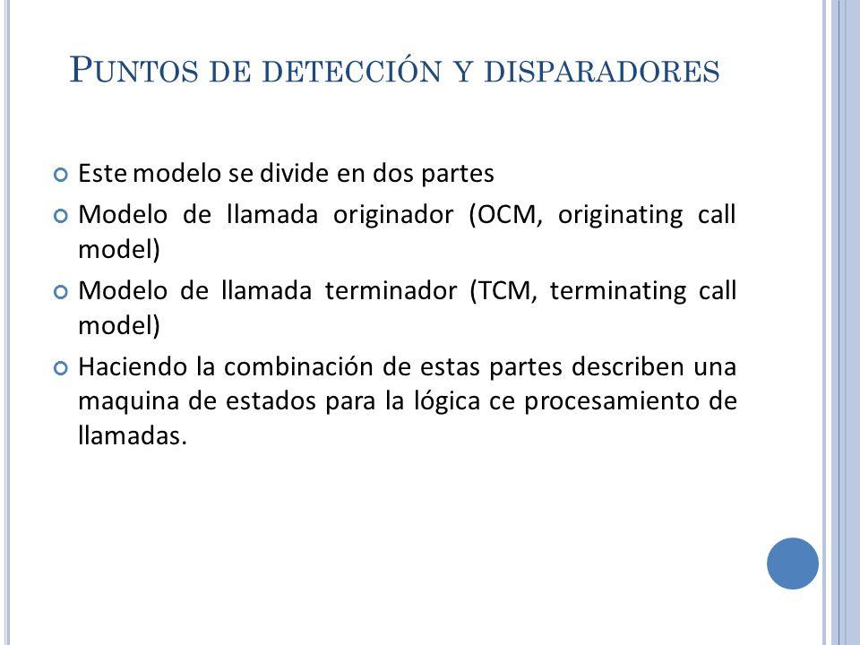 P UNTOS DE DETECCIÓN Y DISPARADORES Este modelo se divide en dos partes Modelo de llamada originador (OCM, originating call model) Modelo de llamada t