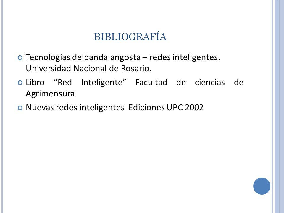BIBLIOGRAFÍA Tecnologías de banda angosta – redes inteligentes. Universidad Nacional de Rosario. Libro Red Inteligente Facultad de ciencias de Agrimen