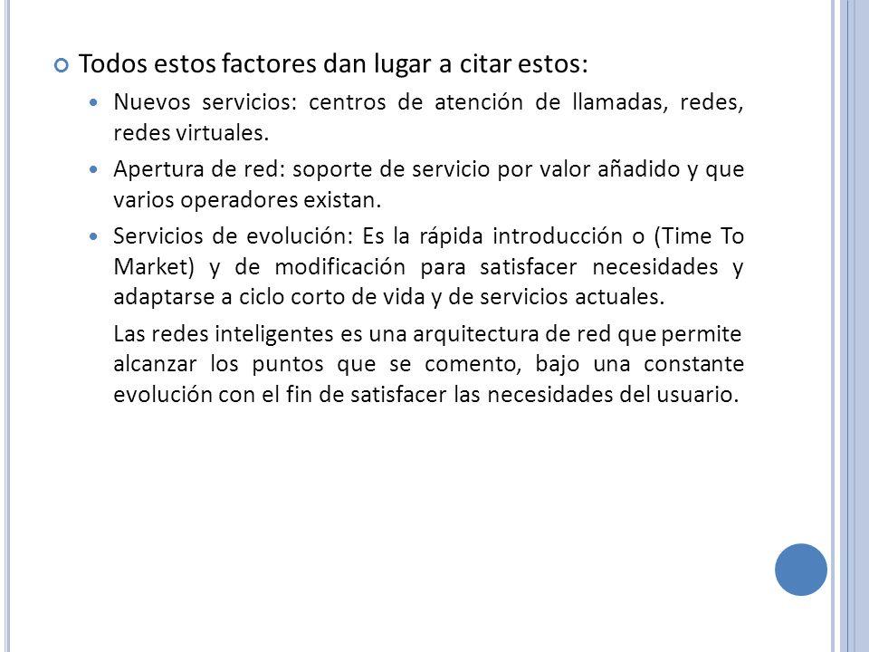 Todos estos factores dan lugar a citar estos: Nuevos servicios: centros de atención de llamadas, redes, redes virtuales. Apertura de red: soporte de s