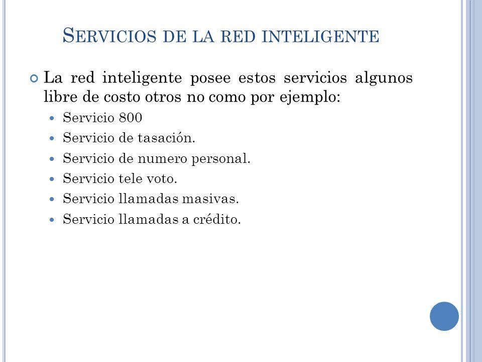 S ERVICIOS DE LA RED INTELIGENTE La red inteligente posee estos servicios algunos libre de costo otros no como por ejemplo: Servicio 800 Servicio de t