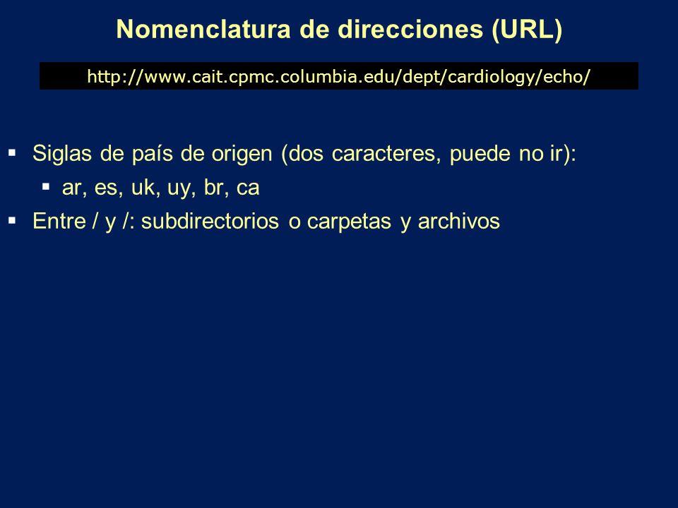 Nomenclatura de direcciones (URL) Siglas de país de origen (dos caracteres, puede no ir): ar, es, uk, uy, br, ca Entre / y /: subdirectorios o carpeta