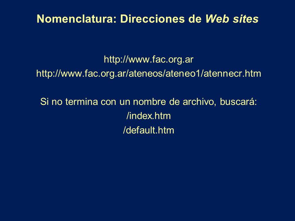 Nomenclatura: Direcciones de Web sites http://www.fac.org.ar http://www.fac.org.ar/ateneos/ateneo1/atennecr.htm Si no termina con un nombre de archivo