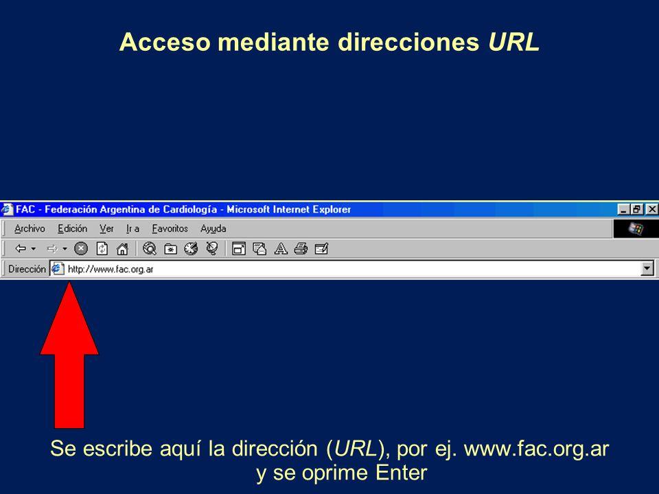 Acceso mediante direcciones URL Se escribe aquí la dirección (URL), por ej. www.fac.org.ar y se oprime Enter