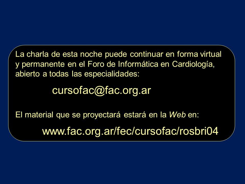 La charla de esta noche puede continuar en forma virtual y permanente en el Foro de Informática en Cardiología, abierto a todas las especialidades: cu