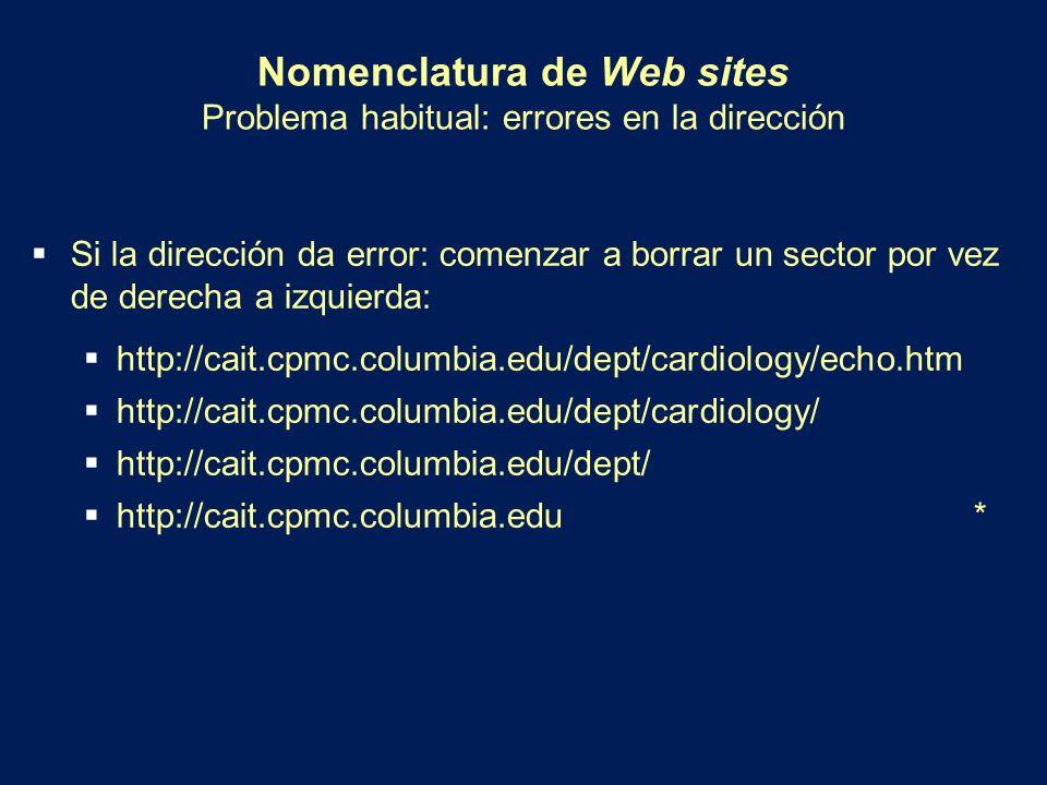 Nomenclatura de Web sites Problema habitual: errores en la dirección Si la dirección da error: comenzar a borrar un sector por vez de derecha a izquie