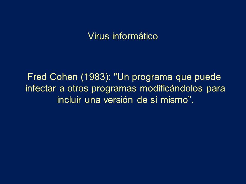 Virus informático Fred Cohen (1983):