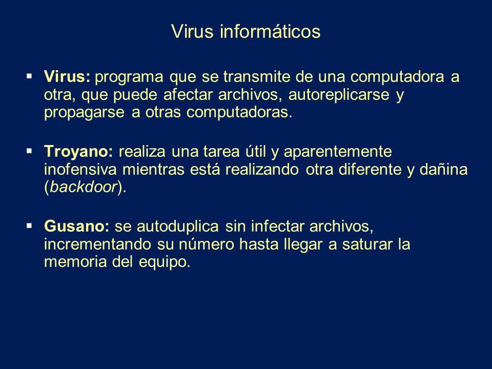 Virus informáticos Virus: programa que se transmite de una computadora a otra, que puede afectar archivos, autoreplicarse y propagarse a otras computa