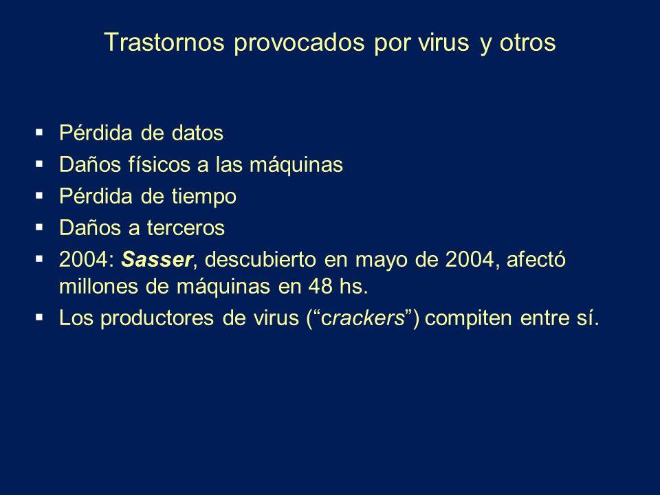 Trastornos provocados por virus y otros Pérdida de datos Daños físicos a las máquinas Pérdida de tiempo Daños a terceros 2004: Sasser, descubierto en