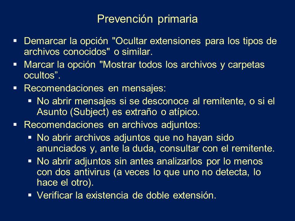 Prevención primaria Demarcar la opción