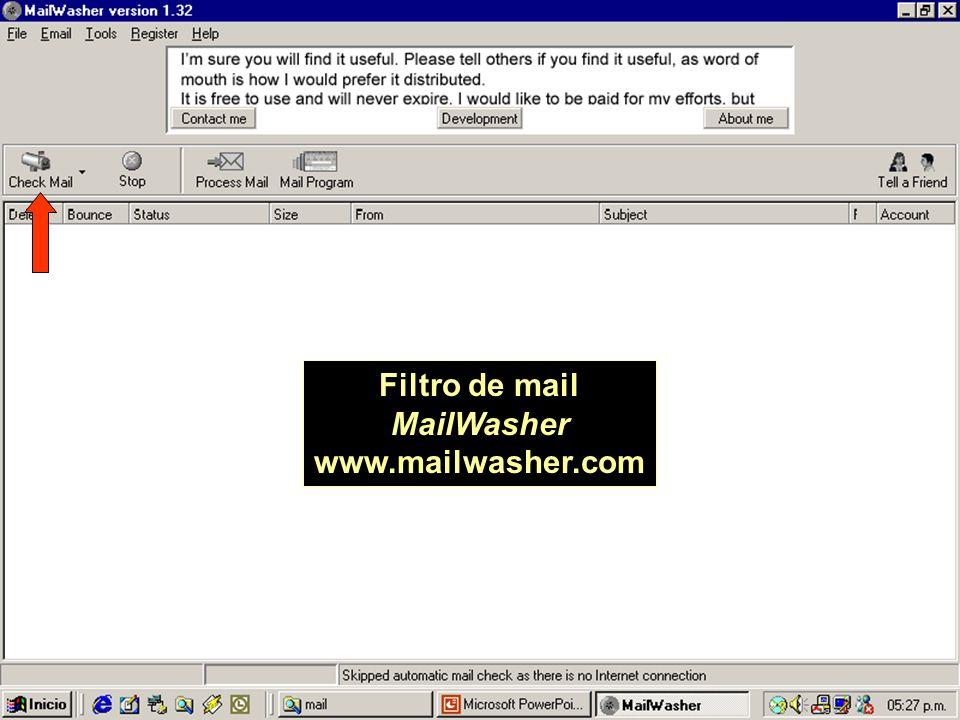 Filtro de mail MailWasher www.mailwasher.com