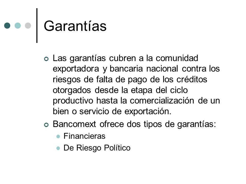 Garantías Las garantías cubren a la comunidad exportadora y bancaria nacional contra los riesgos de falta de pago de los créditos otorgados desde la e