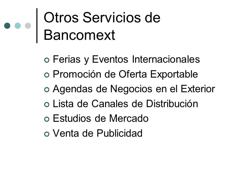 Otros Servicios de Bancomext Ferias y Eventos Internacionales Promoción de Oferta Exportable Agendas de Negocios en el Exterior Lista de Canales de Di