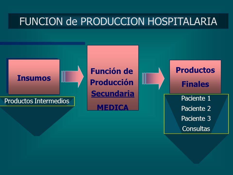FUNCION de PRODUCCION HOSPITALARIA Insumos Producto Intermedios Insumos Función de Producción Primaria TECNICA Recurso Humano Recurso Tecnológico Otro