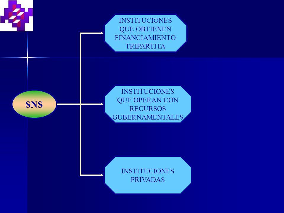 SNS INSTITUCIONES QUE OBTIENEN FINANCIAMIENTO TRIPARTITA INSTITUCIONES QUE OPERAN CON RECURSOS GUBERNAMENTALES INSTITUCIONES PRIVADAS