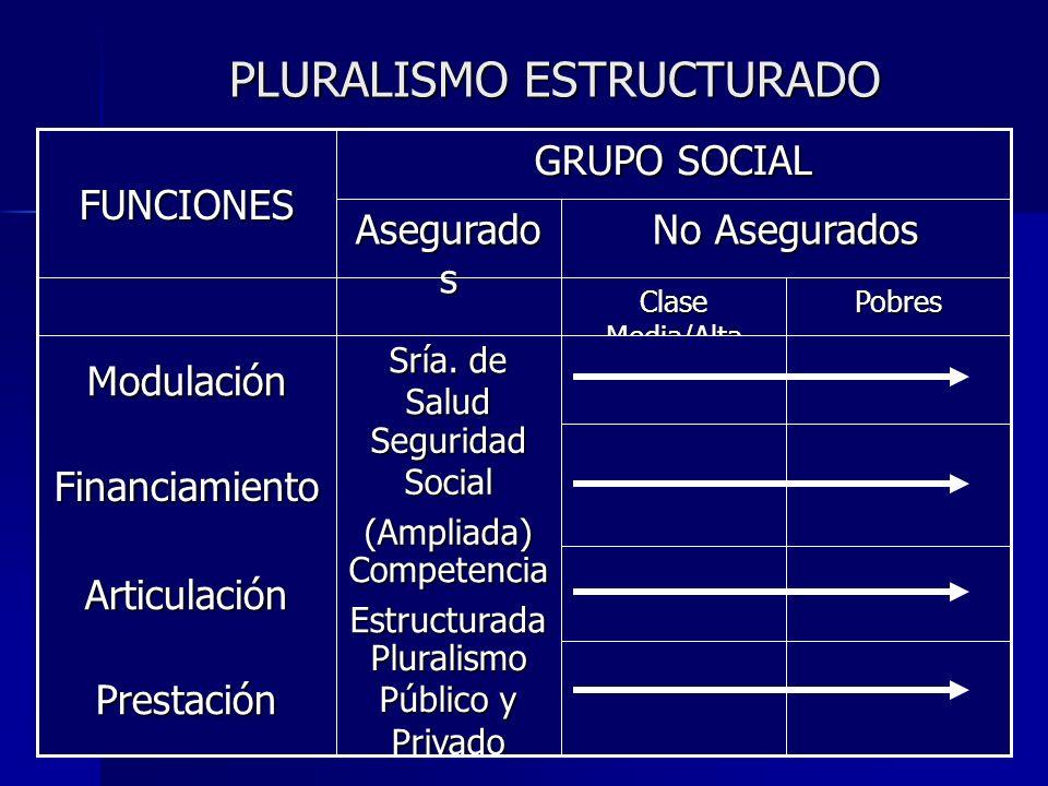 PLURALISMO ESTRUCTURADO Pobres Clase Media/Alta Pluralismo Público y Privado Prestación CompetenciaEstructuradaArticulación Seguridad Social (Ampliada)Financiamiento Sría.