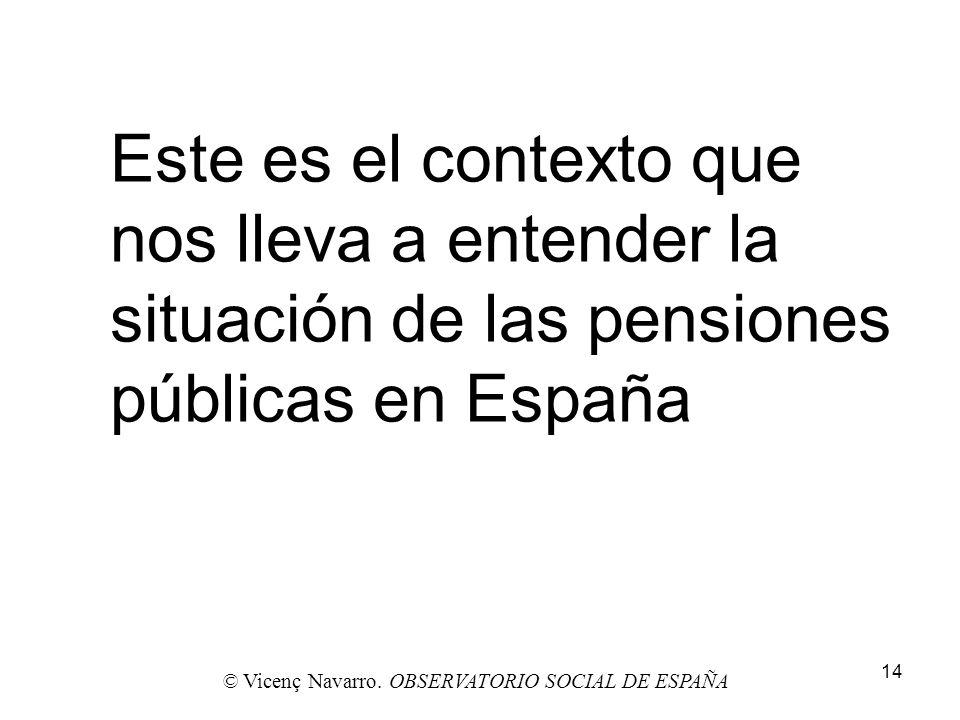 14 Este es el contexto que nos lleva a entender la situación de las pensiones públicas en España © Vicenç Navarro. OBSERVATORIO SOCIAL DE ESPAÑA
