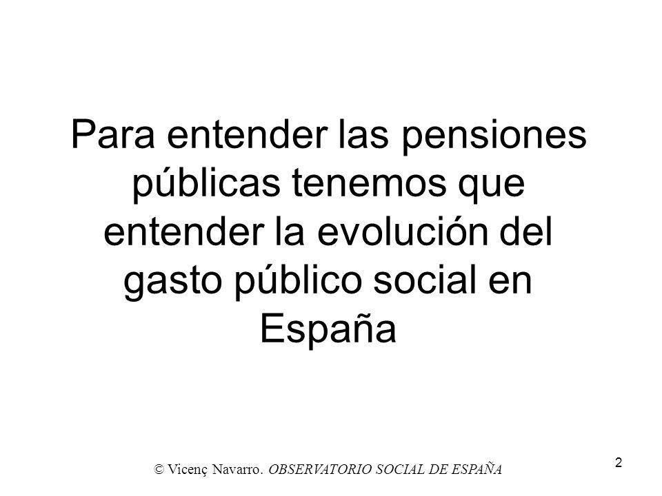 2 Para entender las pensiones públicas tenemos que entender la evolución del gasto público social en España © Vicenç Navarro. OBSERVATORIO SOCIAL DE E