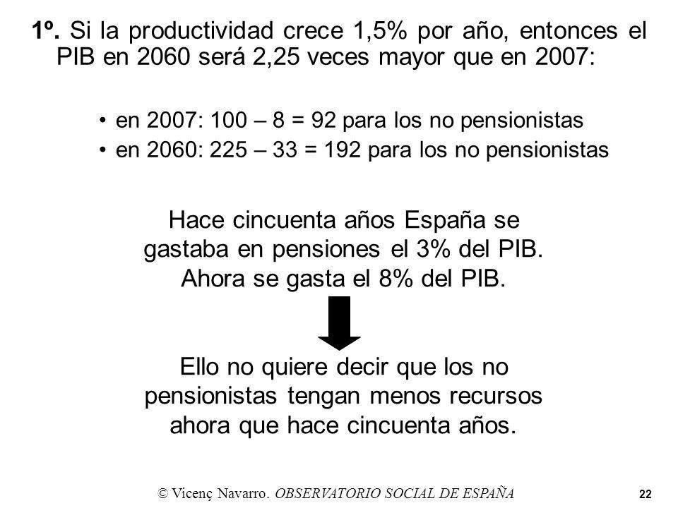 1º. Si la productividad crece 1,5% por año, entonces el PIB en 2060 será 2,25 veces mayor que en 2007: en 2007: 100 – 8 = 92 para los no pensionistas